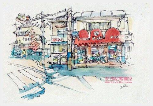 水彩建筑插画(上图)