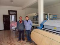 恭喜甘肅楊老板羊毛被加工機械安裝成功