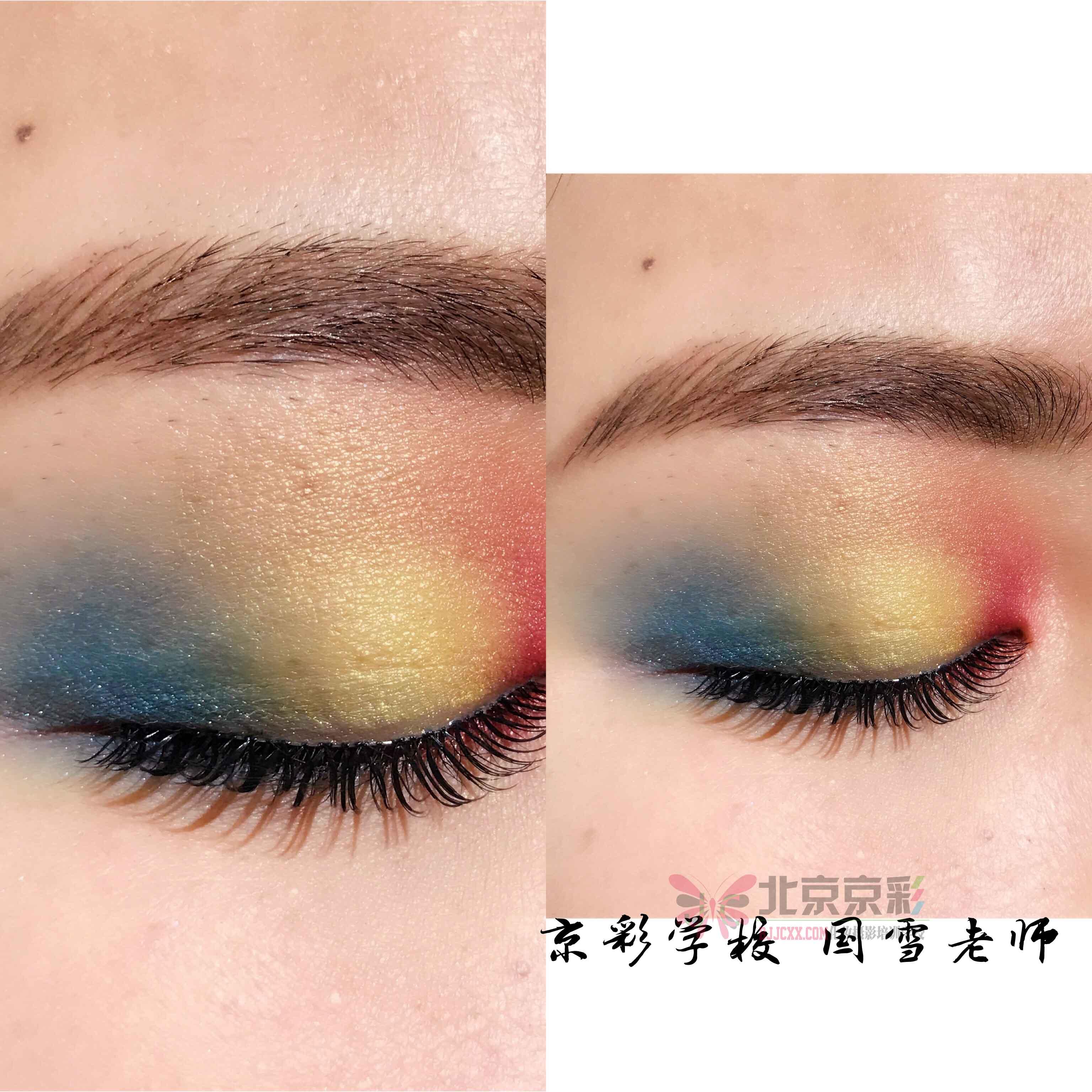 下面给大家说这个三色眼影的画法也是非常的简单,主要运用眼影越画越深,范围越缩越小的原则来画。通常再画第三层眼影时,颜色主要选用的是咖啡色,第三层的画法是将深色眼影覆盖在第二层眼影之上。呈现的是一种渐变的感觉。如果大家画的第二层眼影是加深眼尾画法的话,那么第三层就重在加深眼尾、晕染眼窝就可以了。  最后一个就是四色眼影的画法了,也是相对来说比较简单的,其实只要大家掌握了前面几种眼影的画法技巧,其他的都可以轻松简单的画出来了。那么在四色眼影的画法中,这里适合用的是最浅的颜色来画卧蚕打亮眼头,其他的三个色和前面